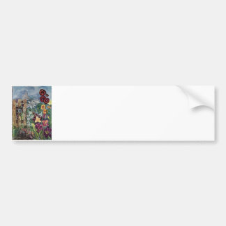 Acuarela del jardín del rezo del rosario etiqueta de parachoque