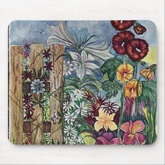 Acuarela del jardín del rezo del rosario mouse pad
