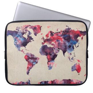 Acuarela del mapa del mundo mangas portátiles