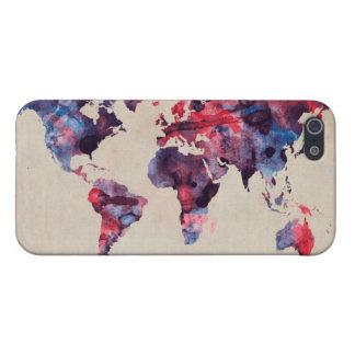 Acuarela del mapa del mundo iPhone 5 coberturas