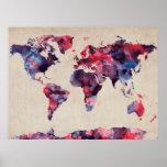 Acuarela del mapa del mundo posters