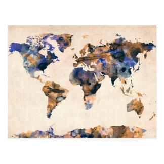 Acuarela del mapa del mundo tarjeta postal