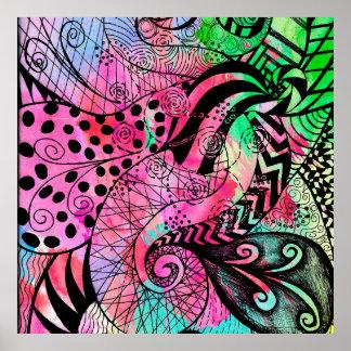 Acuarela del multicolor y dibujo del modelo de la póster