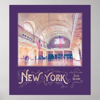 Acuarela del museo de la isla de New York City Impresiones