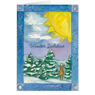 Acuarela del paisaje de la nieve de los ciervos tarjeta de felicitación