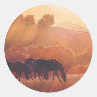 """""""Acuarela del paisaje del caballo del punto del Pegatina Redonda"""