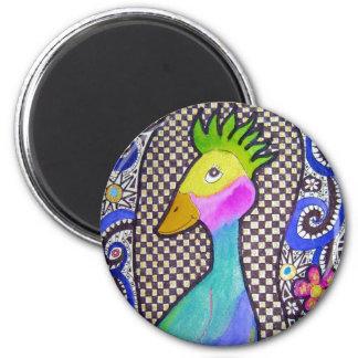 Acuarela del pájaro y dibujo enrrollados de la tin imán para frigorífico