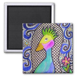 Acuarela del pájaro y dibujo enrrollados de la tin imán de frigorifico