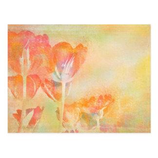 Acuarela del pastel de los tulipanes de la tarjeta postal
