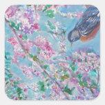 Acuarela del petirrojo y de la flor de cerezo pegatina cuadrada