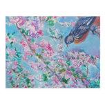 Acuarela del petirrojo y de la flor de cerezo postal