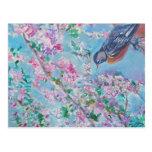 Acuarela del petirrojo y de la flor de cerezo postales