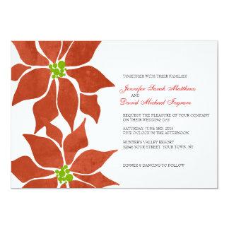Acuarela del Poinsettia del invierno Invitacion Personal