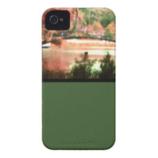 Acuarela del puente del lago scene de la caída del iPhone 4 funda