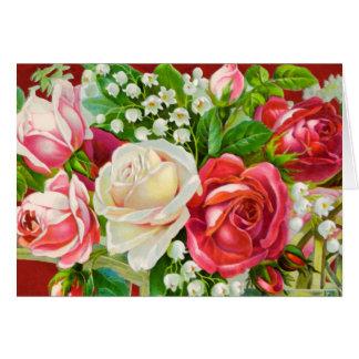 Acuarela del ramo de los rosas rojos tarjeta de felicitación