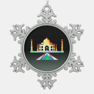 Acuarela del Taj Mahal Adorno De Peltre En Forma De Copo De Nieve
