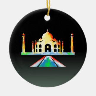 Acuarela del Taj Mahal Adorno Navideño Redondo De Cerámica