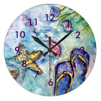 Acuarela del tema de la playa del flip-flop reloj redondo grande