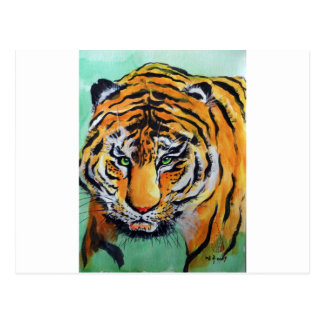 Acuarela del tigre postal