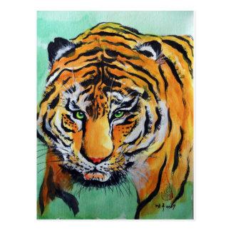 Acuarela del tigre postales