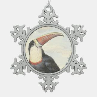 Acuarela del vintage de Toucan del americano de Adorno De Peltre En Forma De Copo De Nieve