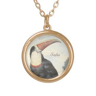 Acuarela del vintage de Toucan del americano de Colgante Redondo