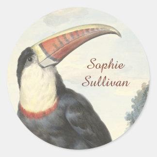 Acuarela del vintage de Toucan del americano de Etiqueta Redonda