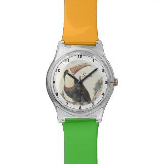 Acuarela del vintage de Toucan del americano de Relojes De Pulsera