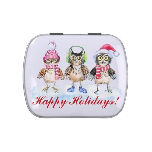 Acuarela divertida de los búhos del trío del navid frascos de dulces