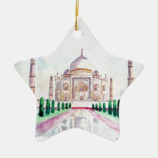 Acuarela el Taj Mahal Adorno Navideño De Cerámica En Forma De Estrella