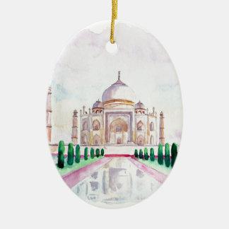 Acuarela el Taj Mahal Adorno Navideño Ovalado De Cerámica