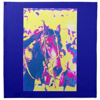 Acuarela excelente del caballo de carreras de la servilleta imprimida