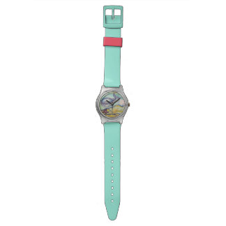 Acuarela feliz de la ballena relojes de pulsera
