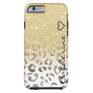 Acuarela femenina del leopardo del brillo del oro funda de iPhone 6 tough