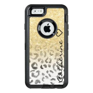 Acuarela femenina del leopardo del brillo del oro funda OtterBox defender para iPhone 6