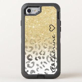 Acuarela femenina del leopardo del brillo del oro funda OtterBox defender para iPhone 7