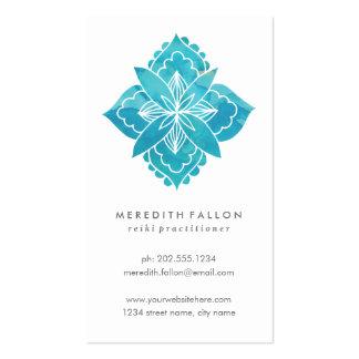 Acuarela floral con la flor azul abstracta tarjetas de visita