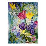Acuarela floral de la primavera postales