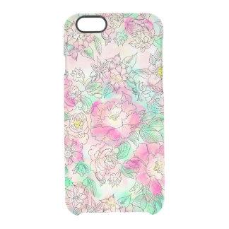 Acuarela floral de la turquesa rosada femenina funda clearly™ deflector para iPhone 6 de uncommon