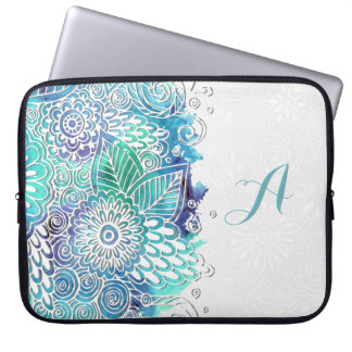 Acuarela floral de los azules - personalizar fundas portátiles