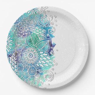 Acuarela floral de los azules platos de papel