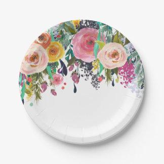 Acuarela floral del jardín romántico platos de papel