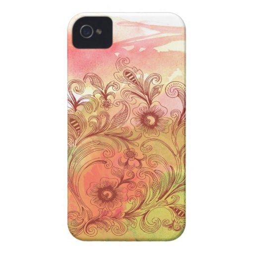 Acuarela floral del rosa y del verde Case-Mate iPhone 4 funda