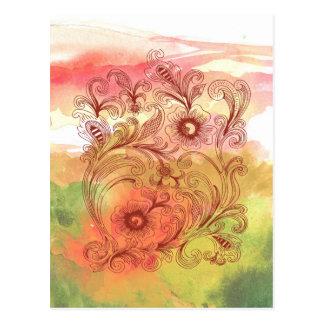 Acuarela floral del rosa y del verde postal