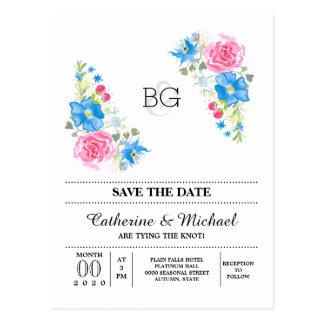 Acuarela floral del wildflower color de rosa postales