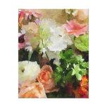 Acuarela floral en melocotón y verde impresiones en lona