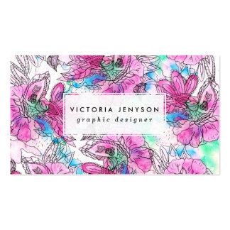 Acuarela floral púrpura rosada abstracta moderna tarjetas de visita