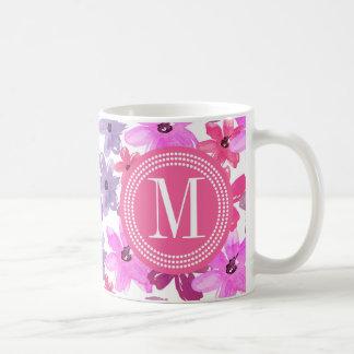 Acuarela floral púrpura y rosada personalizada tazas de café