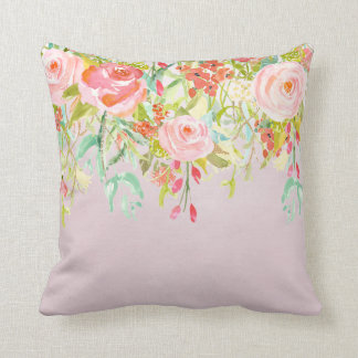 Acuarela floral rosada del jardín cojín