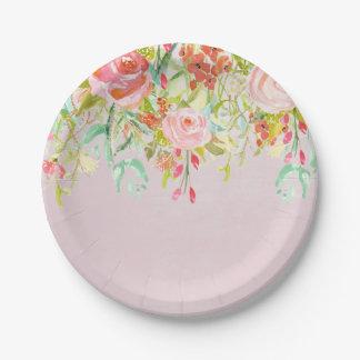 Acuarela floral rosada del jardín platos de papel
